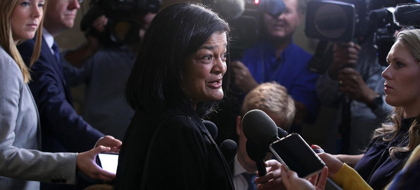 Rep. Pramila Jayapal speaks to members of the media as she arrives at a House Democratic Caucus meeting on Sept. 25, 2019, in Washington, D.C. (photo: Alex Wong/Getty)