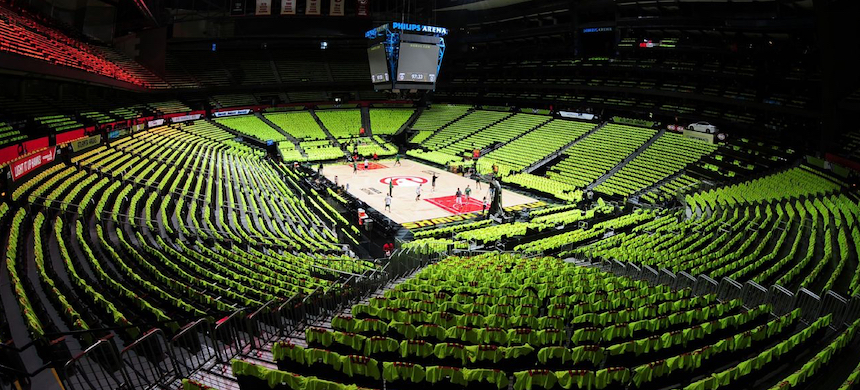 State Farm Arena in Atlanta, Georgia. The arena serves as the home venue for the National Basketball Association's Atlanta Hawks. (photo: ESPN)
