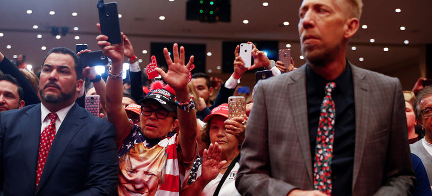 Audience members react as President Trump delivers remarks in January 2020 at an Evangelicals for Trump coalition launch at the King Jesus International Ministry in Miami. (photo: Tom Brenner/Reuters)